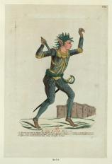 "An ""aristocrat monster."" The fine print says he ""represents the figure of a child with a furious snake hair, holding a dagger, ready to strike those who oppose his tyranny. He has feet and hands of tiger claws."""