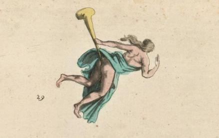 An angel and her trumpet, flying over the Jacobin funeral procession