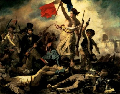 "Liberty Leading the People,"" a depiction of the French Revolution. Painting by Eugène Delacroix, 1830"