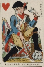French Revolution playing card issued 1793 Jack of Hearts becomes Equality of Duties with the motto Security