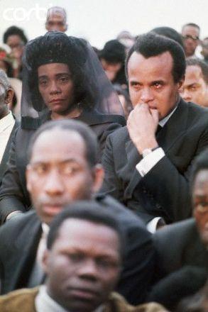 harry belafonte & coretta scott king at dr king's funeral, atlanta, georgia, 1968