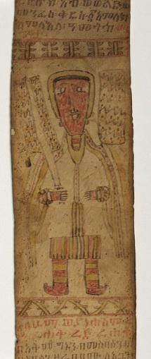 Illuminated Manuscript Ethiopian scroll with angels and talismans Guardian angel brandishing a sword