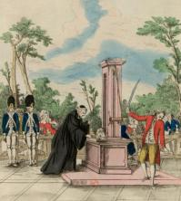 Mr Guillotin proposing his machine to the National Assembly for executions 1791