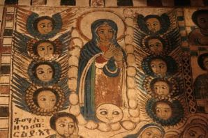The Blessed Virgin Mary and angels in Abraha Atsbeha church in the Gheralta Mountains EthiopiaThe magnificent church was carved out of a cave in the 10th century