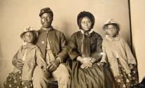 This is thought to be the only known photo of an African-American Union soldier with his family