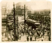 EAST ST LOUIS RIOTS--On July 2, 1917, Angry white mobs stopped trolleys and streetcars, pulling black passengers out and beating them on the streets and sidewalks. They set fire to the homes of black residents who had to choose between burning alive in their homes, or run out of the burning houses, only to be met by gunfire. In other parts of the city, African Americans were lynched against the backdrop of burning buildings.