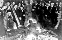 Omaha, Neb, Sept. 28, 1919 William Brown was accused of assaulting a white woman. When police arrested him a mob quickly formed which ignored orders from authorities that they disperse. The rampaging mob set the courthouse prison on fire and seized Brown. He was hung from a lamppost, mutilated, and his body riddled with bullets, then burned. Four other people were killed and fifty wounded before troops were able to restore order.