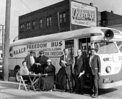 """Organized by the Congress of Racial Equality (CORE) in May 1961, two buses with black and white passengers set out on a """"FREEDOM RIDE"""" TO CHALLENGE SEGREGATION IN INTERSTATE TRAVEL AND TRAVEL FACILITIES IN THE SOUTH."""