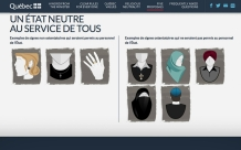 A Quebec government website shows on the left examples of what religious symbols will be approved and, on the right, what will be banned.