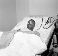 The Rev. Martin Luther King Jr., African American integration leader, in bed at New Yorkís Harlem Hospital on Sept. 21, 1958 following operation to remove steel letter opener from his chest. Rev. King was in critical condition immediately after his assailant, an African American woman undergoing mental observation at Bellevue Hospital, plunged the letter opener into King