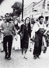 ames Baldwin, Joan Baez, James Forman marching in Montgomery, Alabama 1965