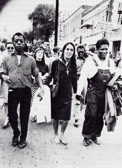 ames Baldwin, Joan Baez, James Forman marching in Montgomery, Alabama 1965