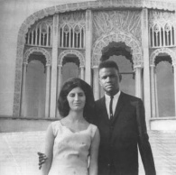 Jack and Farzaneh Guillebeaux, on their wedding day in 1965. At that time, in North Carolina, it was legal for interracial couples to live together, but not to marry. So the two of them decided to drive 500 miles north to Wilmette, Illinois, where the Baha'i Temple welcomed their wedding.