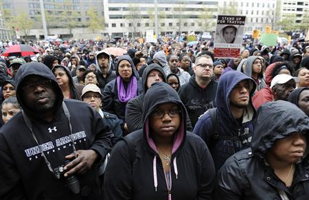 "People gather at a ""Stand Up for Trayvon Martin"" rally in Washington"