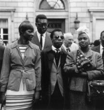 Expatriates in Paris supporting the Poor People's March on Washington, 1963. Mae Mercer, Memphis Slim, James Baldwin and Hazel Scott
