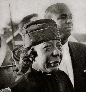 Mrs. Claude Wesley at the funeral of her daughter Cynthia, one of the four girls killed in the bombing of Birmingham's Sixteenth Street Baptist Church on September 15, 1963