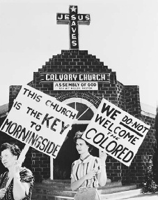 White women picket outside Calvary Assembly of God Church, Fort Worth, Texas, in 1956. They are protesting its sale to an African American congregation